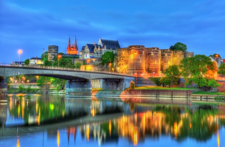 Angers Castle and the Maine River in France Stock Photo