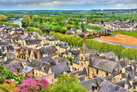 bastion: View of Chinon from the castle - France