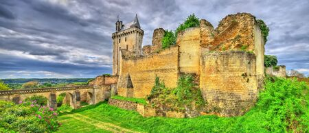 the loire: Chateau de Chinon in the Loire Valley - France Stock Photo