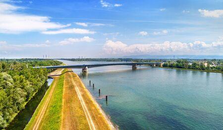 Pierre Pflimlin motorway bridge over the Rhine between France and Germany Stock Photo