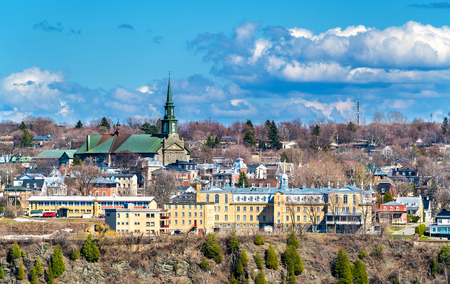 levis: Marcelle-Mallet School and Notre-Dame-de-la-Victoire Church in Levis near Quebec City, Canada