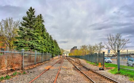 Railway in the old port of Montreal, Canada