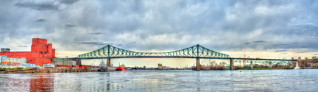 Panorama of Jacques Cartier Bridge crossing the Saint Lawrence River in Montreal, Canada Stock Photo