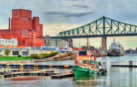 Boats in Old Port of Montreal - Quebec, Canada Stock Photo
