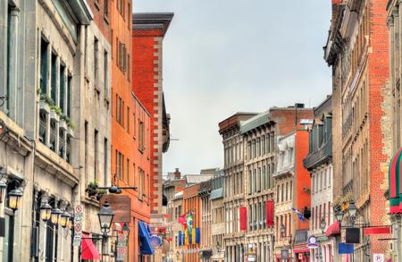 Gebouwen op St Paul straat in Oud Montreal - Quebec, Canada Stockfoto