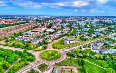 Aerial view of a roundabout in Schiltigheim near Strasbourg, France