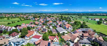 Aerial panorama of Eschau, a village near Strasbourg - Grand Est, France