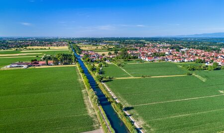 Aerial view of the Rhone - Rhine Canal near Strasbourg in Alsace, France Stock Photo