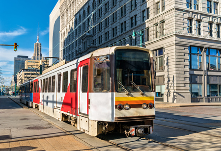 Metro Rail on Main Street in Buffalo, New York Stock Photo