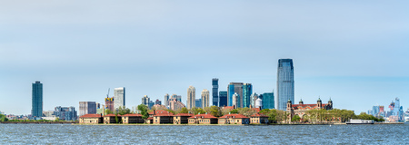 Ellis Island and skyscrapers of Jersey City, USA