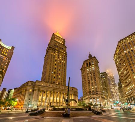 サーグッド マーシャル アメリカ合衆国裁判所、ニューヨーク市の夜に点灯 写真素材