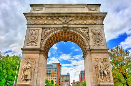 The Washington Square Arch, a marble triumphal arch in Manhattan, New York City