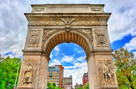 The Washington Square Arch, un arc de triomphe en marbre à Manhattan, à New York