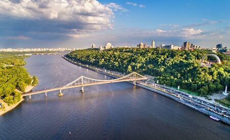 Aerial view of the Dnieper with the Pedestrian Bridge in Kiev, Ukraine