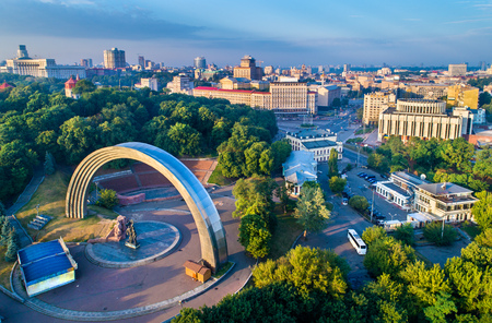 Aerial view of Kiev with Friendship of Nations Arch and European Square - Ukraine Stock Photo