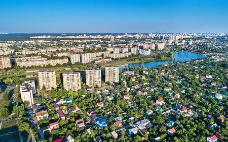 Aerial view of Raiduzhnyi and Voskresenka district of Kiev, Ukraine