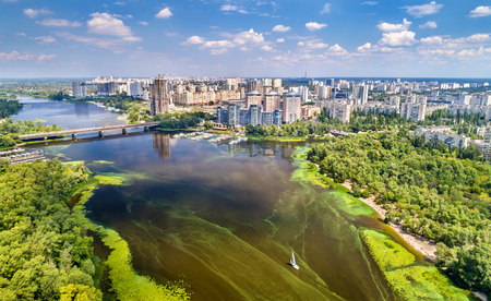 Aerial view of the Dnieper river in Kyiv, Ukraine Stock Photo