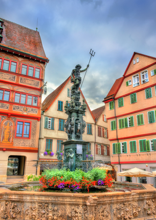 Neptune fountain in front of the city hall of Tubingen, Germany