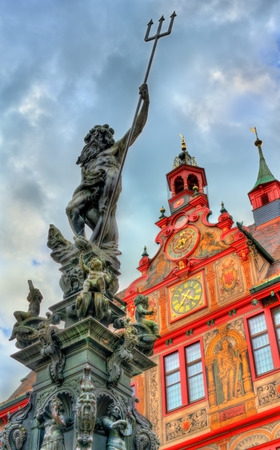 Neptune fountain in front of the city hall of Tubingen, Germany Stock fotó - 84790473