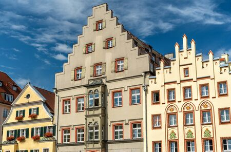 Buildings on Arnulfsplatz Square in the Old Town of Regensburg, Germany Stock Photo