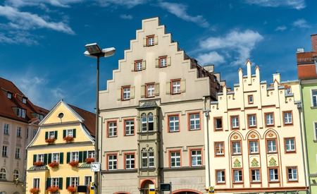 bayern old town: Buildings on Arnulfsplatz Square in the Old Town of Regensburg, Germany Stock Photo