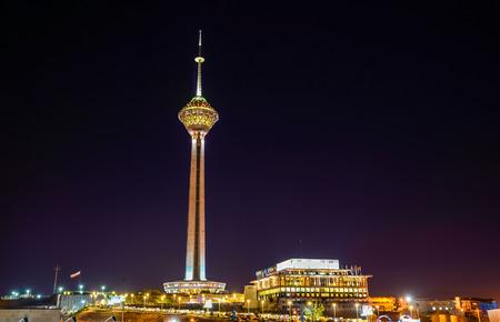 Night view of Milad Tower in Tehran - Iran 写真素材