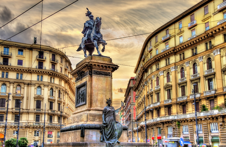 Equestrian statue of Victor Emmanuel II on Piazza Giovanni Bovio in Naples, Italy Stock Photo