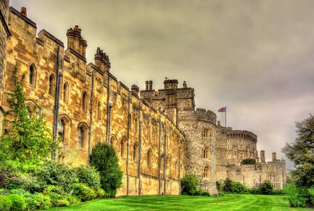 windsor: Walls of Windsor Castle near London, England Editorial
