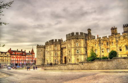 Walls of Windsor Castle near London, England Editorial
