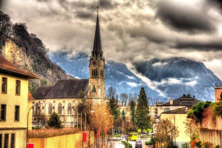 View of Cathedral of St. Florin in Vaduz - Liechtenstein
