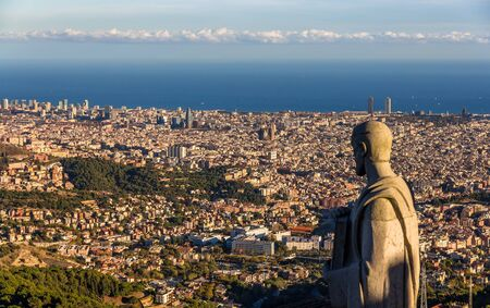 sagrat cor: Sculpture of Apostle and view of Barcelona
