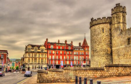 old town guildhall: View of Windsor town and a tower of the castle - England