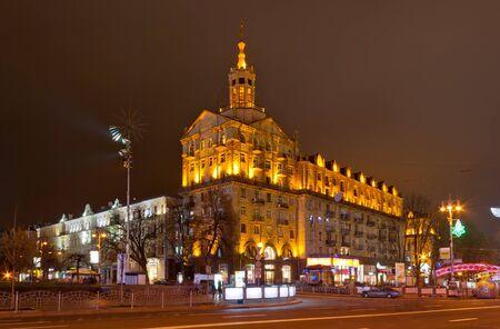 Kyiv city center at night. Khreshchatyk ctreet