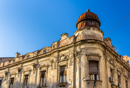 open windows: Old building in the city center of Belgrade - Serbia