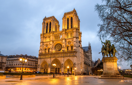 Evening view of the Notre-Dame de Paris - France