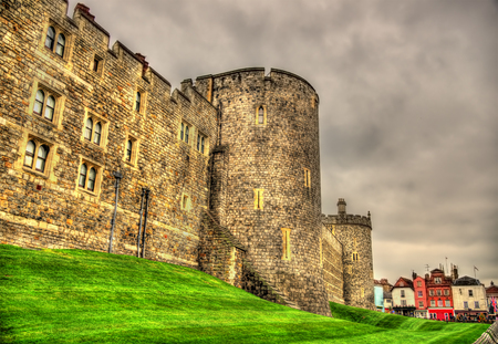 Walls of Windsor Castle near London, England Standard-Bild
