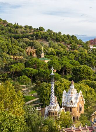 View of Park Guell in Barcelona - Spain Stock Photo