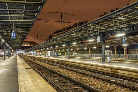 france station: Platforms of the Paris-Est station at night - France