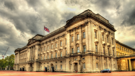 View of Buckingham Palace in London - Great Britain Standard-Bild