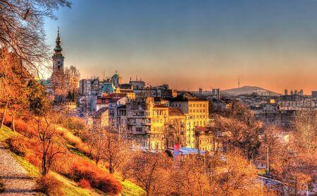 View of Belgrade city center - Serbia Stock Photo