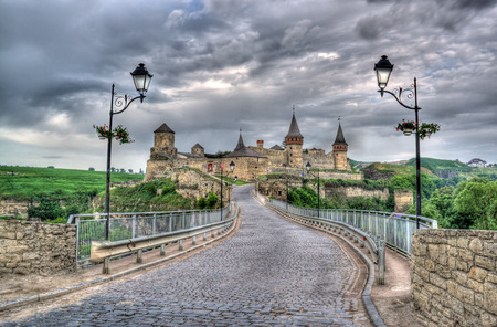 Kamianets-Podilskyi Castle and Turkish bridge. Ukraine. HDR image Stock Photo