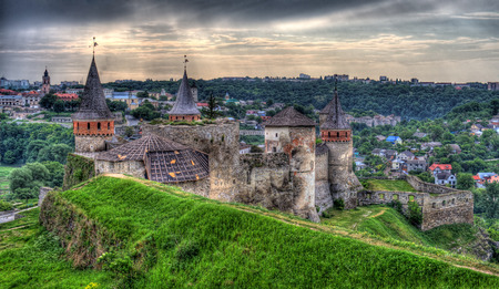 Kamianets-Podilskyi Castle. View towards the town. Ukraine. HDR image