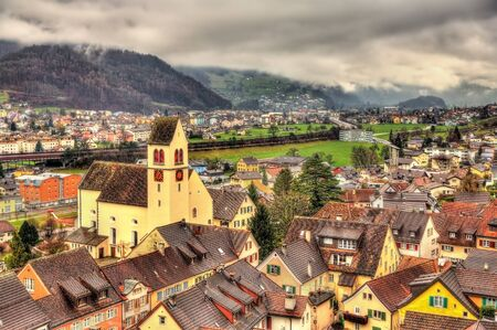 View of Sargans village in Swiss Alps