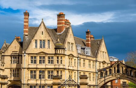 Buildings of Hertford College in Oxford - England Stock Photo