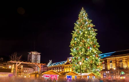 Christmas tree at a famous Christmas Market in Strasbourg, 2015 Reklamní fotografie