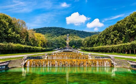 Kilometers-long promenade along cascades at the Palace of Caserta, Italy