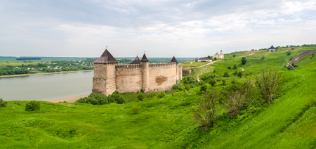 Panorama of Khotyn fortress on Dniester riverside. Ukraine