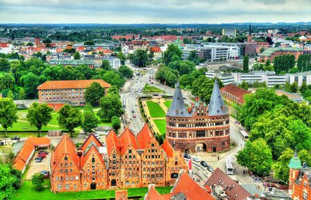 The Holsten Gate or Holstentor in Lubeck old town - Germany, Schleswig-Holstein Stock Photo