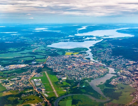 oslo: View of Lillestrom town from an airplane on the approach to Gardermoen Airport - Norway