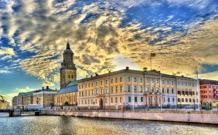 The city hall and the German Church in Gothenburg - Sweden 스톡 콘텐츠